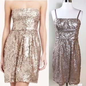 EUC✨BCBGMAXAZRIA Champagne Sequins Dress 8